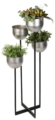 Suport flori Quattro, metalic, argintiu/negru