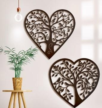 set decoratiune inimi copaci